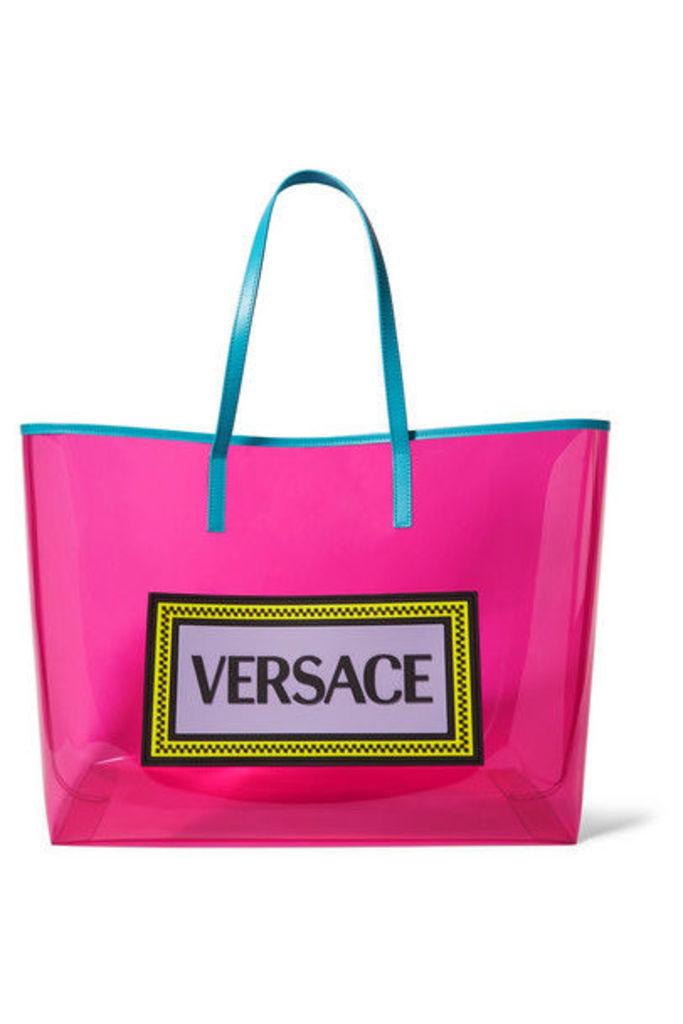 Versace - Appliquéd Leather-trimmed Vinyl Tote - Pink