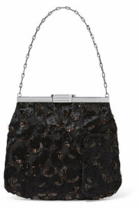 Bienen-Davis - 4am Velvet-trimmed Fil Coupé Clutch - Black