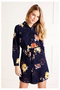 Womens Mela London Printed Shirt Dress -  Blue