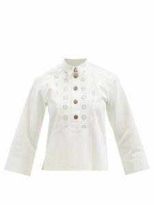 Marni - Floral Print Waxed Poplin Pencil Skirt - Womens - Red Multi