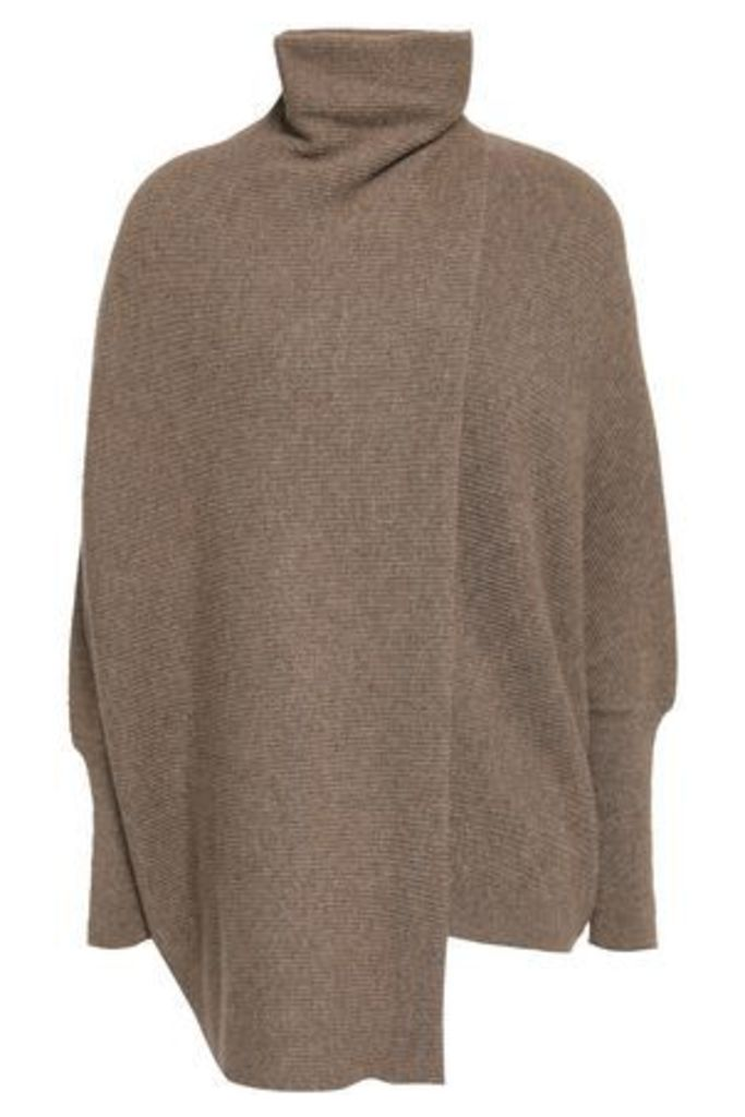 Agnona Woman Draped Mélange Cashmere Turtleneck Sweater Mushroom Size M