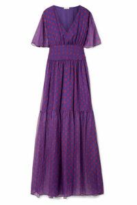 Eywasouls Malibu - Maria Printed Chiffon Maxi Dress - Purple