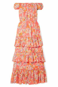 Eywasouls Malibu - Inka Off-the-shoulder Floral-print Cotton-voile Maxi Dress - Orange