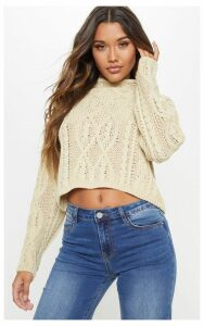 Stone Chunky Knitted Cable Jumper, White