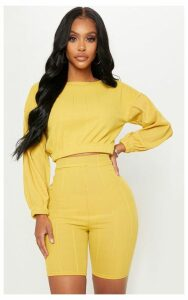 Shape Lime Wide Rib Long Sleeve Crop Top, Green