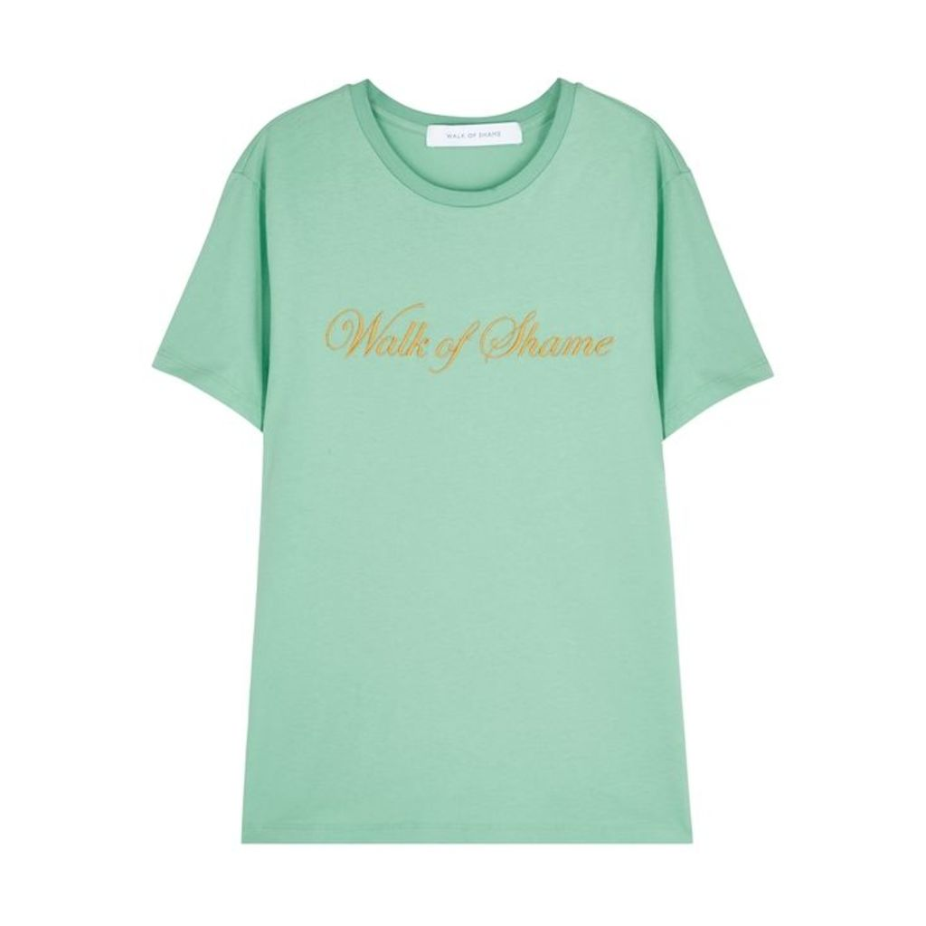 Walk Of Shame Mint Embroidered Cotton T-shirt