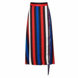MSGM Striped Fringe-trimmed Satin Midi Skirt