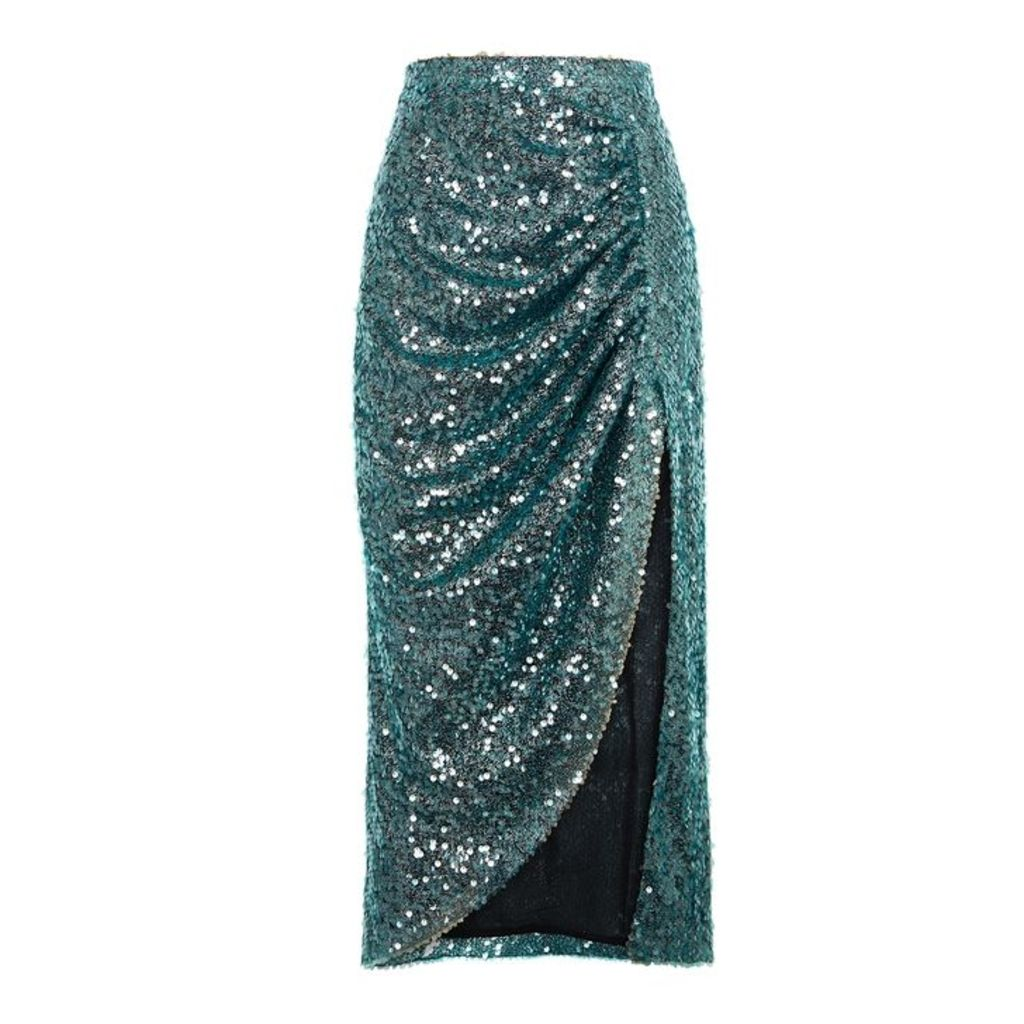 Walk Of Shame Aqua Ruched Sequin Skirt
