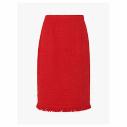 L.K.Bennett Myia Ruffle Trim Pencil Skirt, True Red