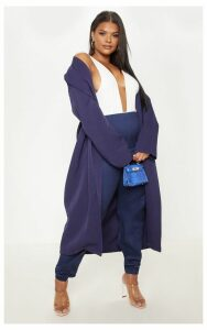 Plus Navy Longline Duster Coat, Blue