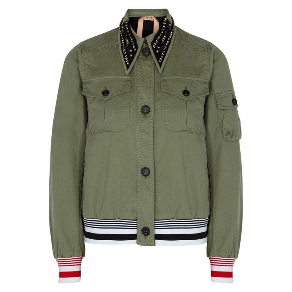 No.21 Army Green Crystal-embellished Twill Jacket