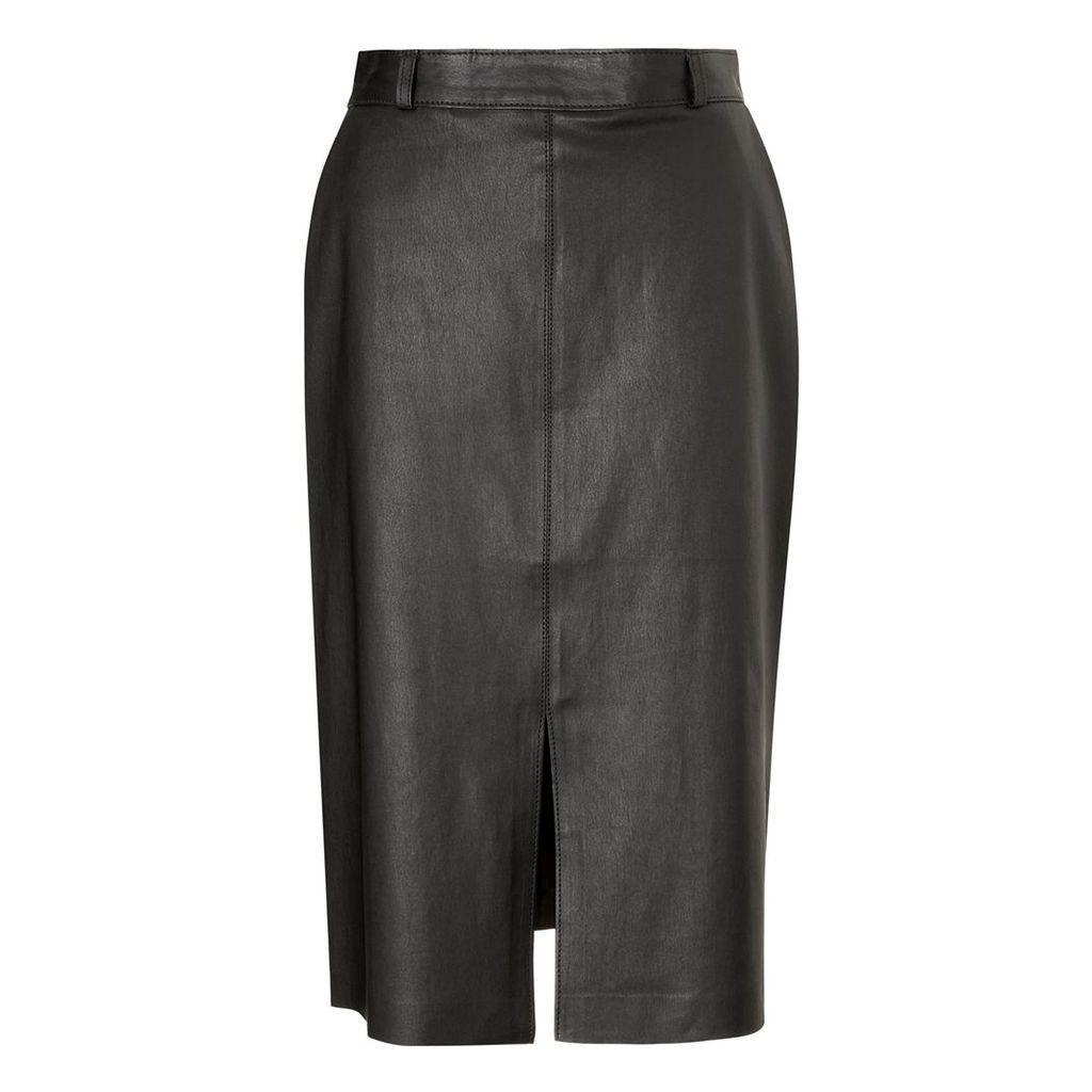Baukjen - Flynn Leather Skirt In Caviar Black