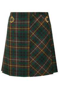 Burberry - Pleated Tartan Wool Mini Skirt - Green
