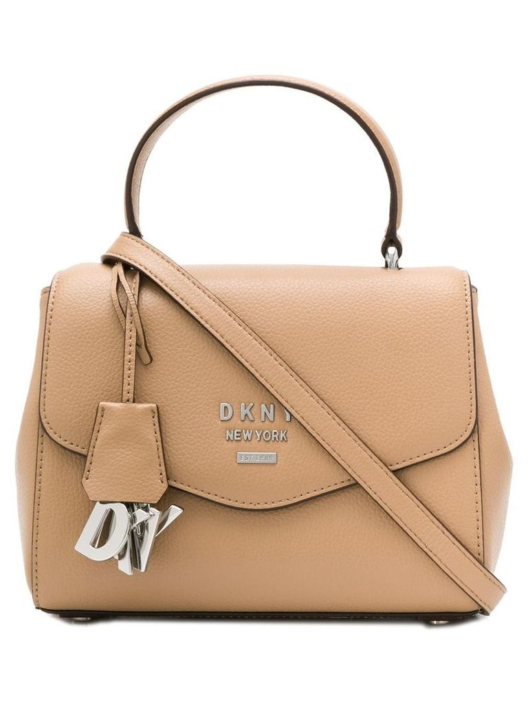 DKNY logo charm tote - Brown