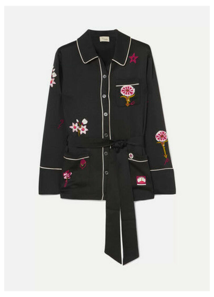 Temperley London - Georgie Belted Embroidered Satin Shirt - Black