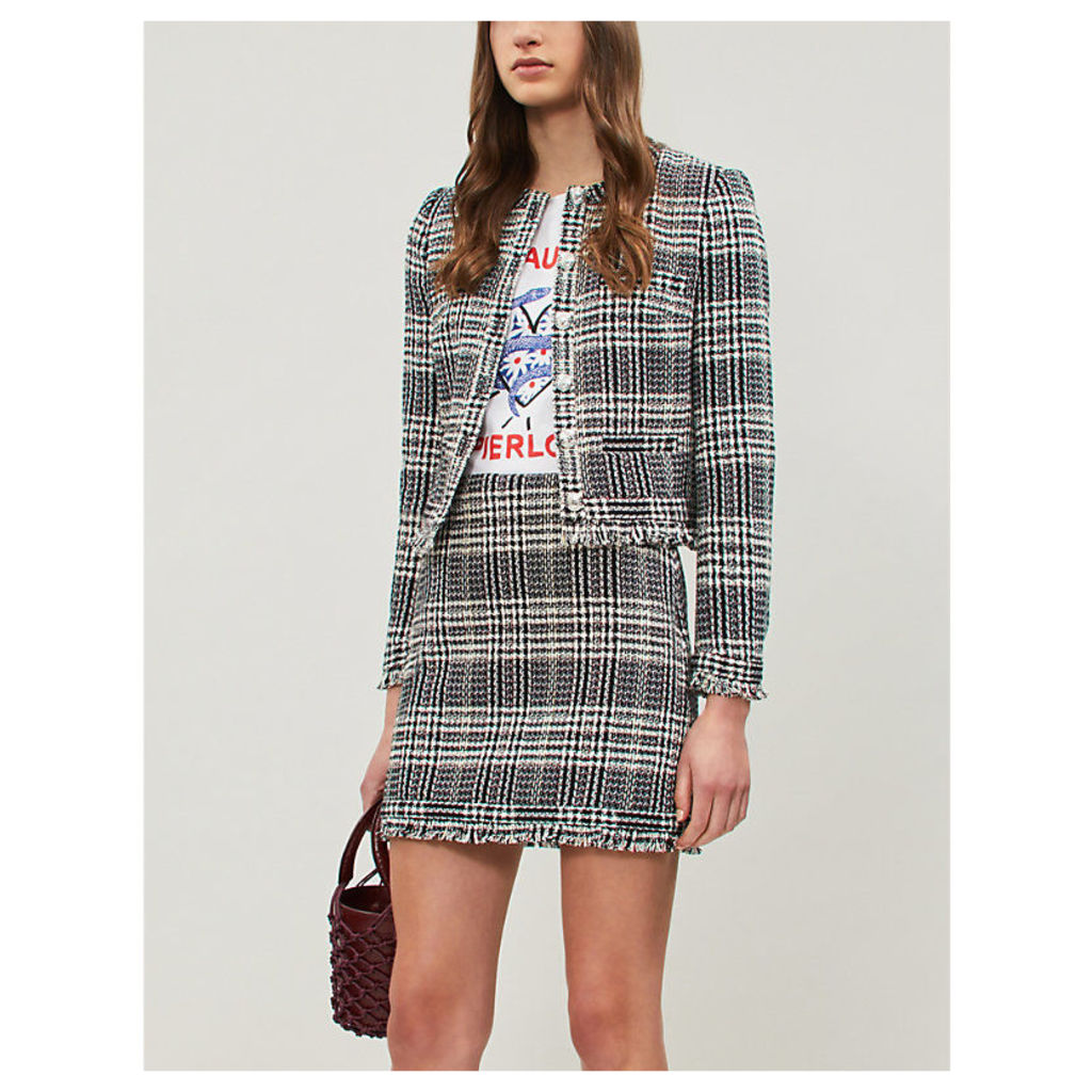 Siena high-waist tweed skirt