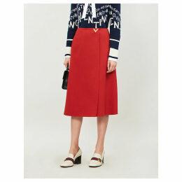 High-waist wrap-effect wool-crepe midi skirt