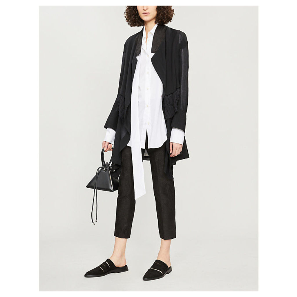 Frill-trimmed double-layered wool and silk-blend jacket