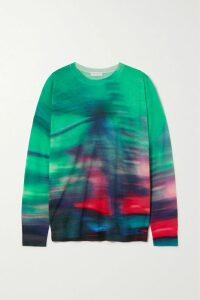 Racil - Casablanca Double-breasted Satin-trimmed Striped Wool-blend Crepe Blazer - Midnight blue