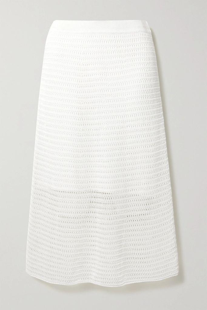 Agnona - Silk Satin-trimmed Wool-blend Coat - White