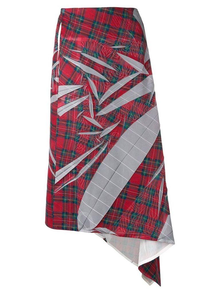 Yohji Yamamoto Vintage 2000's tartan print skirt - Red