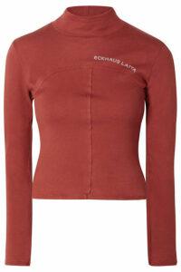 Eckhaus Latta - Printed Cotton-jersey Turtleneck Top - Brick