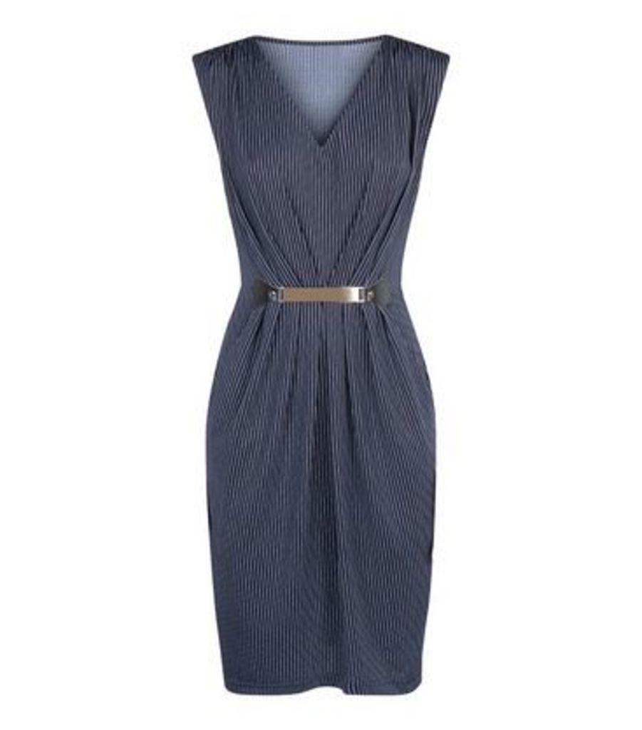 Mela Blue Pinstripe Belted Dress New Look