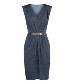 Mela Blue Pinstripe Belted Dress New Look
