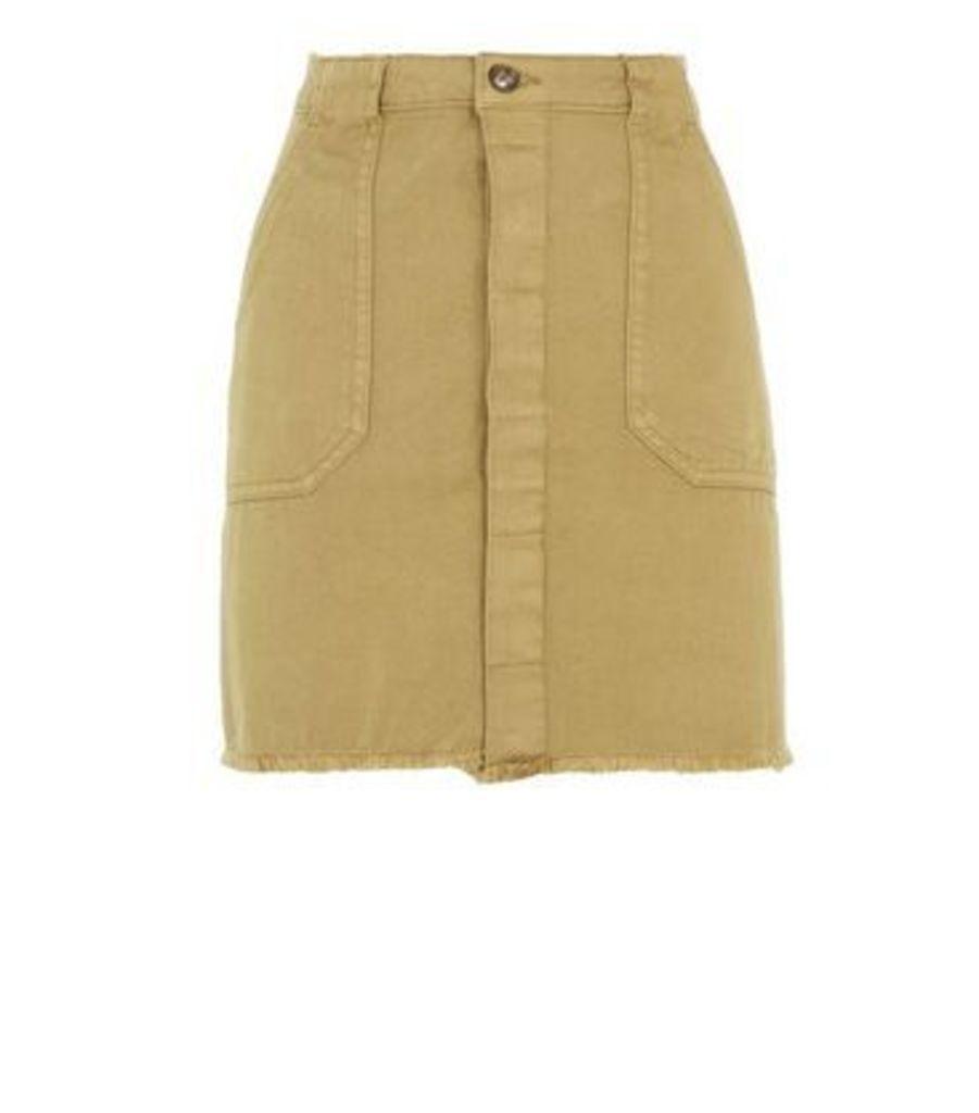 Khaki Utility Denim Skirt New Look
