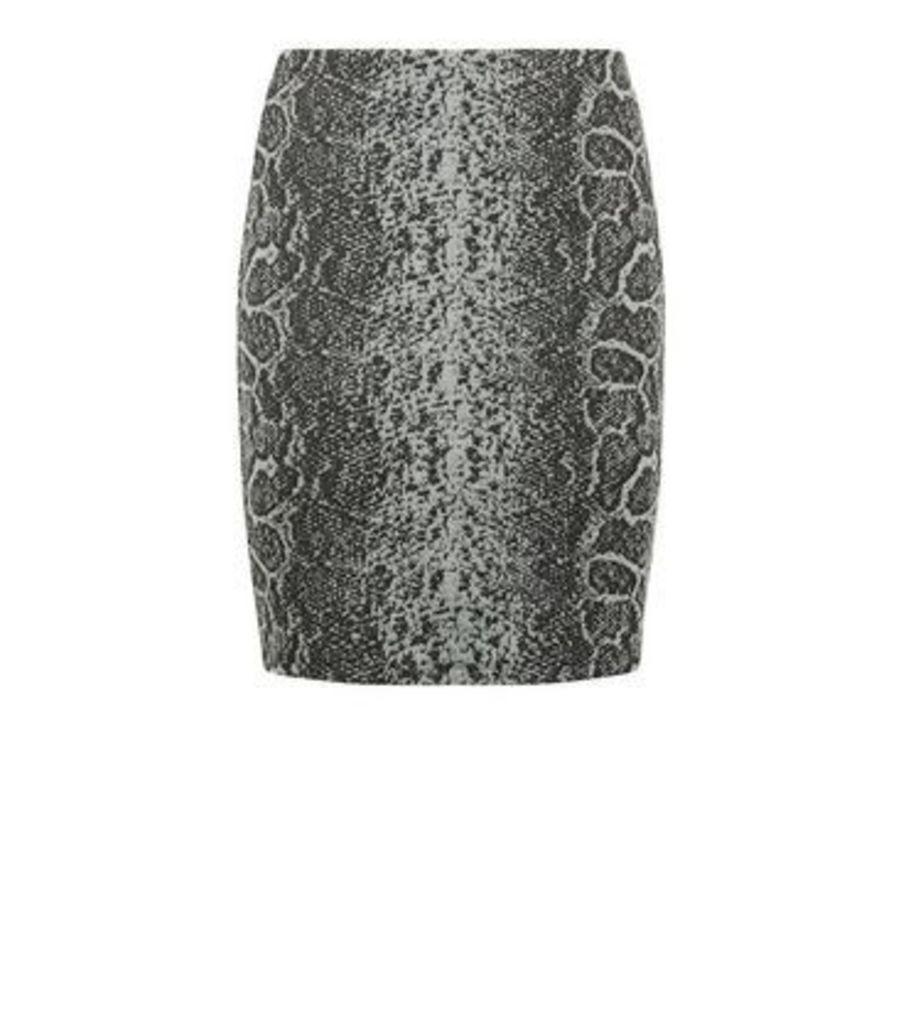 Black Jacquard Snake Tube Skirt New Look