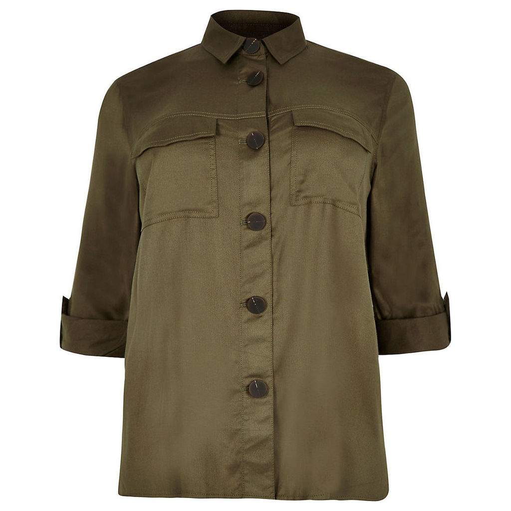 Womens Plus Khaki button front shacket