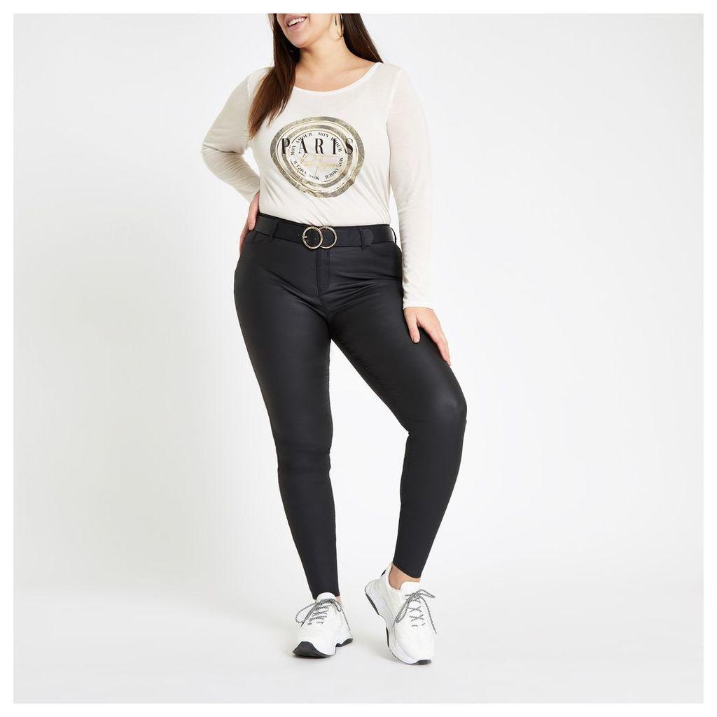 Womens Plus White 'Paris' print long sleeve T-shirt