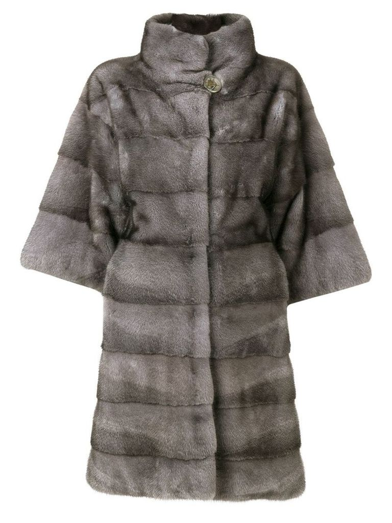 Liska ribbed fur coat - Blue