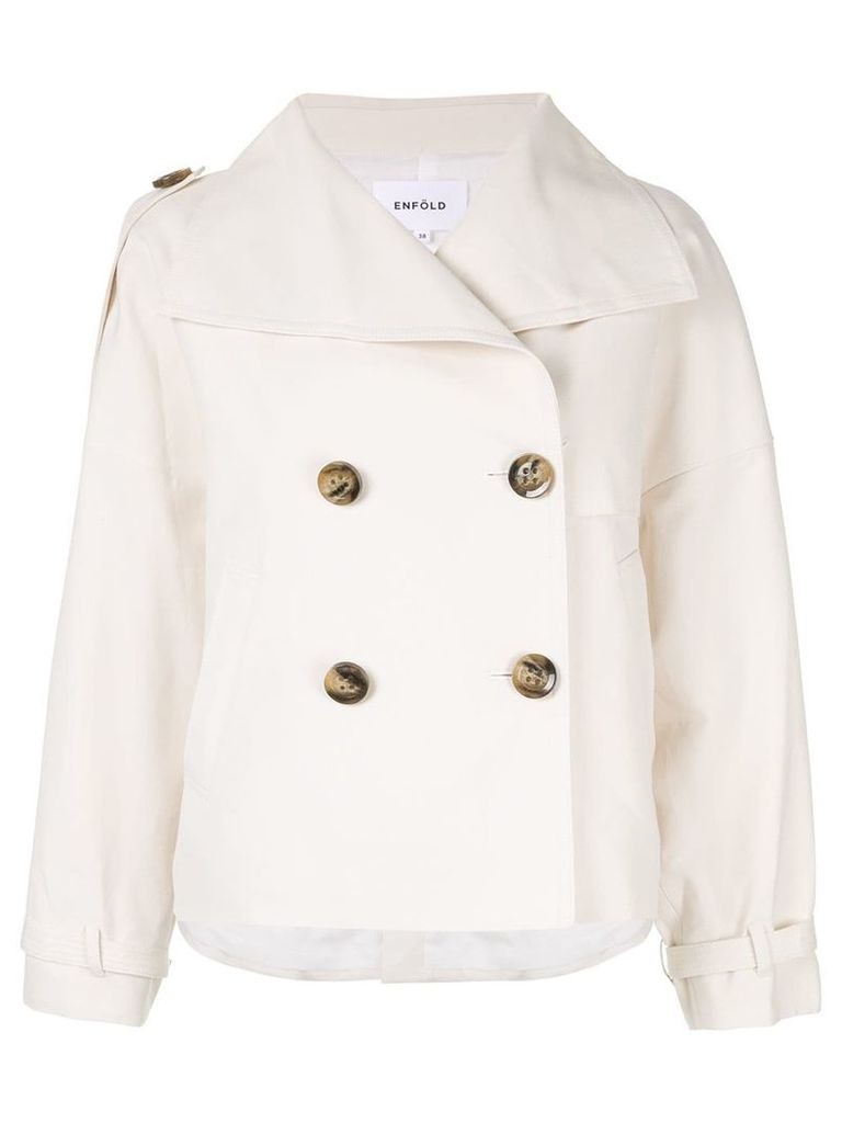 Enföld short double-breasted coat - White