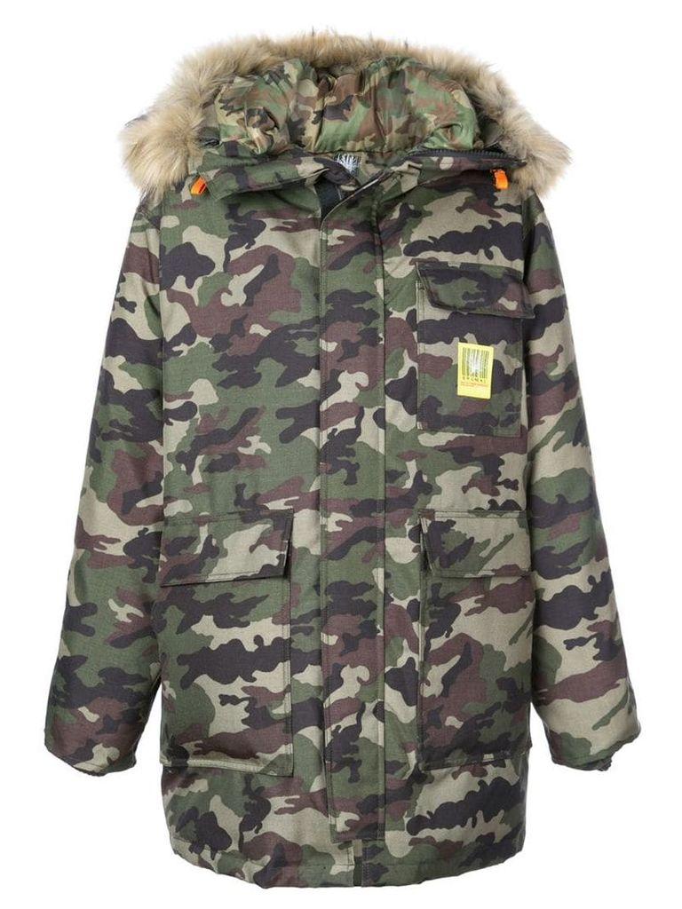 Brumal camouflage print hooded coat - Green