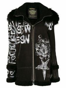 Mr & Mrs Italy graffiti hooded coat - Black