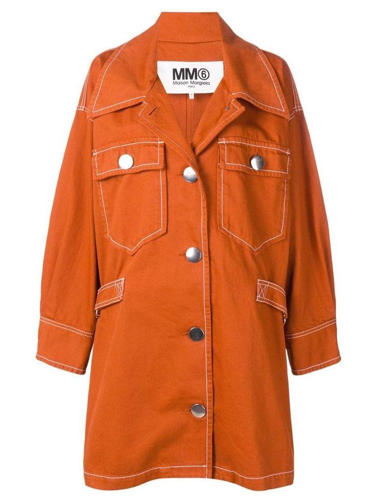 Mm6 Maison Margiela single-breasted shift coat - Orange