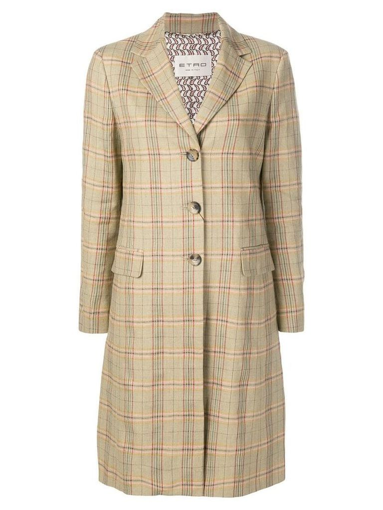 Etro plaid single breasted coat - Brown