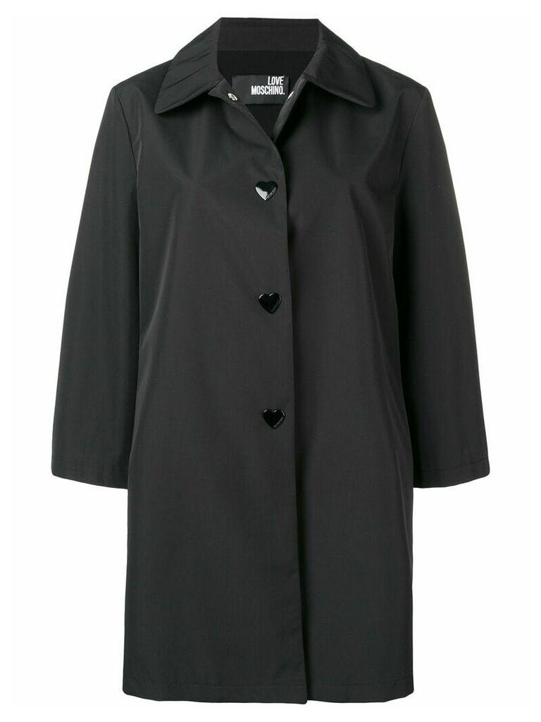 Love Moschino single breasted raincoat - Black