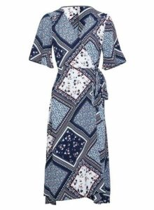 Womens *Izabel London Blue Aztec Wrap Dress- Blue, Blue