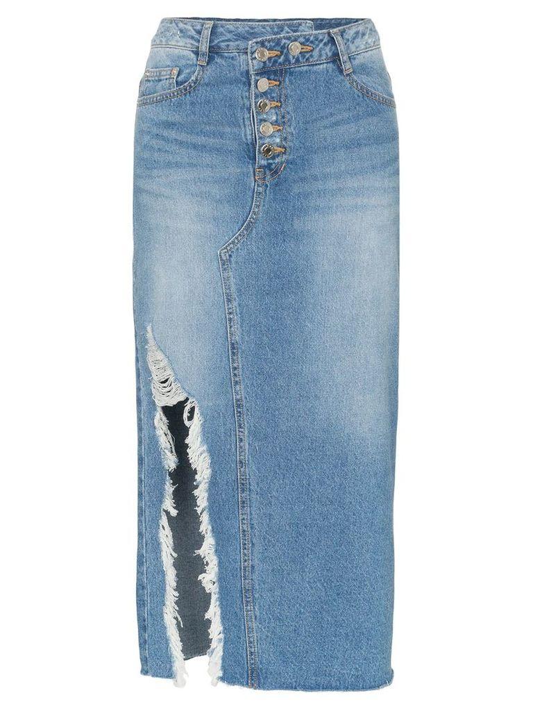 SJYP high waisted side slit midi skirt - Blue