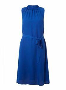 Womens Cobalt Blue High Neck Chiffon Midi Dress- Cobalt, Cobalt