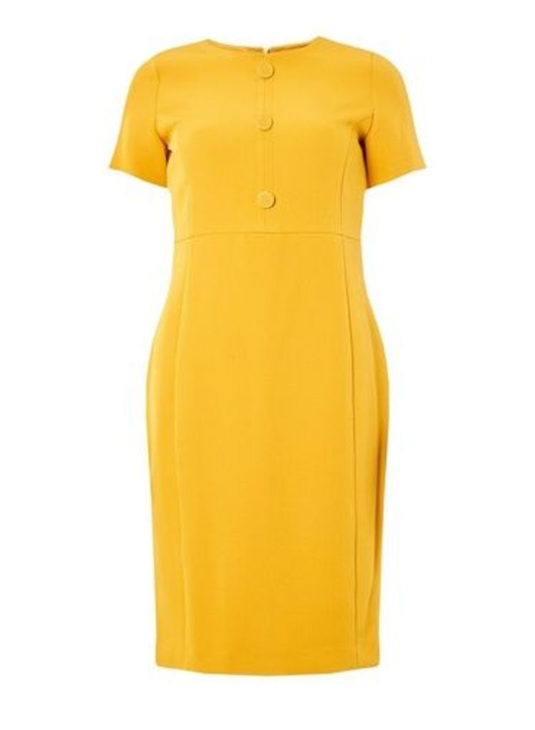 Womens Yellow Button Front Pencil Dress- Yellow, Yellow
