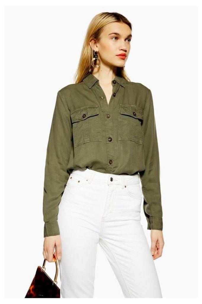 Womens Double Pocket Utility Shirt - Khaki, Khaki