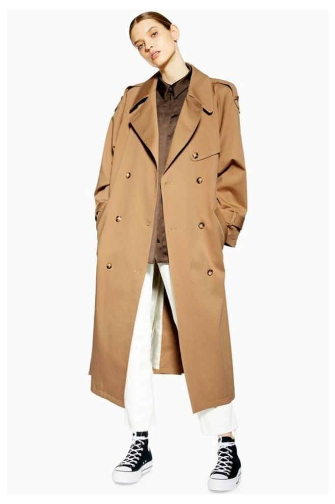 Womens **Twill Trench By Boutique - Taupe, Taupe