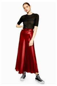 Womens **Waterfall Silk Skirt By Boutique - Oxblood, Oxblood