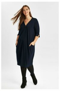 Womens Evans Blue Cocoon Pocket Dress -  Blue