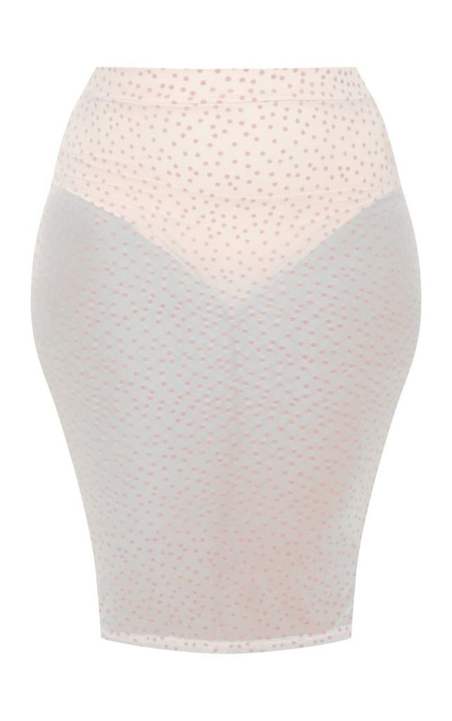 Plus Nude Sheer Dobby Mesh Midi Skirt, Pink