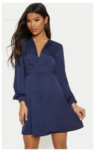 Navy Satin Hook & Eye Shift Dress, Blue