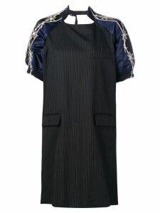 Sacai contrast sleeve dress - Black